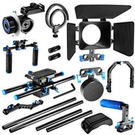 Neewer-Film-Movie-Video-Making-System-Kit-for-Canon-Nikon-Sony-and-Other-DSLR-Cameras-Video-Camcorders-includes-C-shaped-BracketHandle-Grip15mm-RodMatte-BoxFollow-FocusShoulder-Rig-BlueBlack