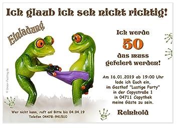 Einladungen Zum Geburtstag Für Jedes Alter Möglich Lustig Witzig Text änderbar Frosch Frösche Spruch 50 Karten Din A6