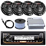 JVC Marine Boat Yacht Radio Stereo CD Player Receiver Bundle Combo with 6.5' 2-Way Coaxial Speakers