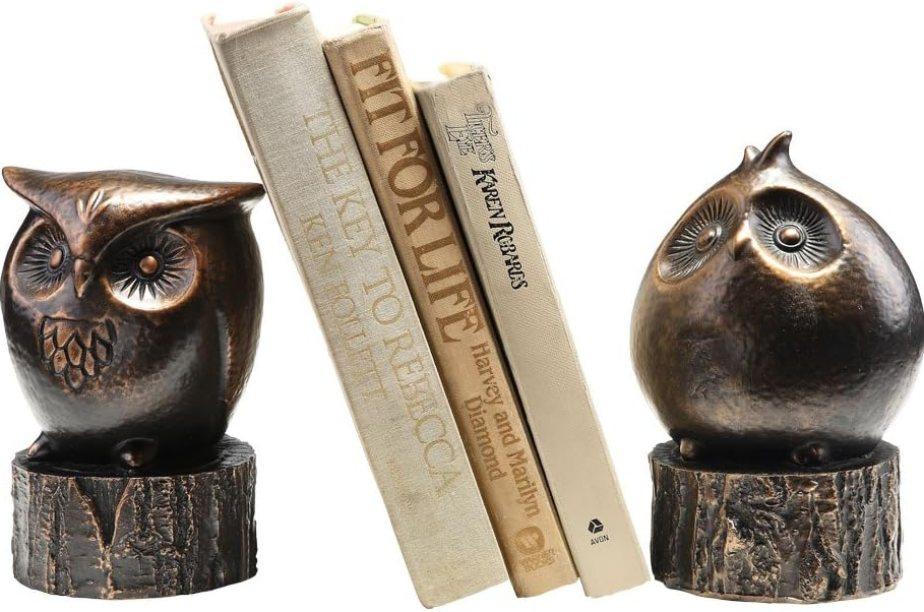 Bronze owl bookend