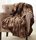 Pinzon Faux Fur Throw Blanket - 50 x 60 Inch, Alpine Brown