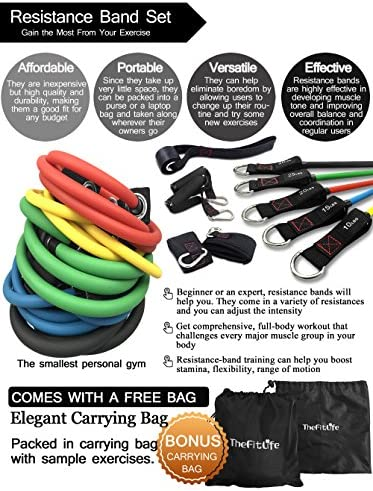 TheFitLife Exercise Resistance Bands with Handles - 5 Fitness Workout Bands Stackable up to 110 lbs, Training Tubes with Large Handles, Ankle Straps, Door Anchor Attachment, Carry Bag and Bonus eBook 8