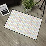 pad W24 x L35 INCH Indie,Colorful Pattern with Classical Old Fashioned Eyeglasses Nerd Smart Hipster Doodle,Multicolor with Non-Slip Backing Door Mat Carpet