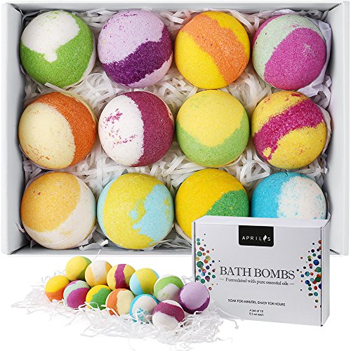 Aprilis 12 Bath Bombs Gift Set, Natural Vegan Bath Bomb Kit with Different Organic Essential Oils, Perfect Birthday Gift idea For Her, Women, Teen Girls and Kids