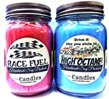 Combo - High Octane & Race Fuel Set of Two 16oz Country Jar Soy Candles Great Unique Scents for Men