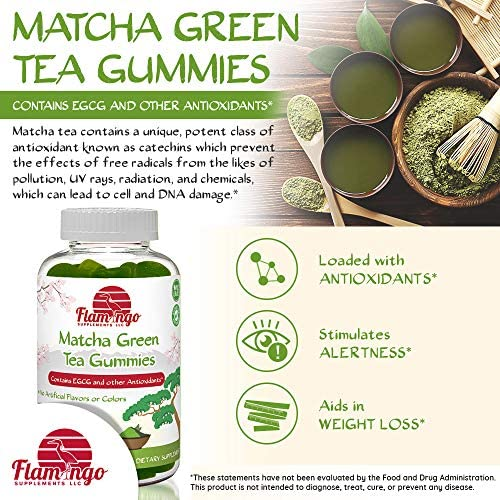 Matcha Green Tea Extract Gummy Vitamin with EGCG. Energy Gummies, Metabolism Booster, Weight Loss & Fat Burner. Vegan Friendly, Gluten-Free, Non-GMO, Kosher and Halal. 60 ct 2