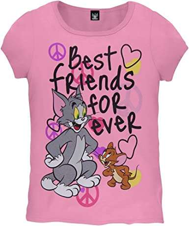 Old Glory Tom And Jerry Best Friends Forever Girls Youth T Shirt Medium Amazon Co Uk Clothing