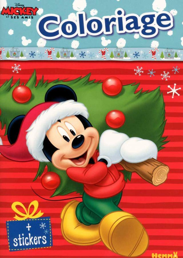 Mickey - Coloriage avec stickers (Noël) : DISNEY: Amazon.fr: Livres