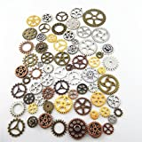 GraceAngie Craft Random 100 Gram (Approx 70pcs) Assorted Antique Steampunk Gears Charms Pendant Clock Watch Wheel Gear for Crafting, Jewelry Making Accessory (Multi-color)