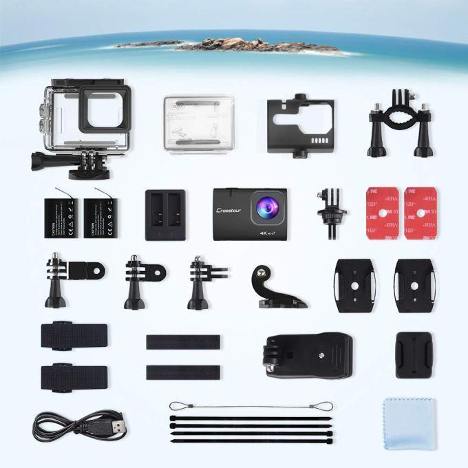 【進化版4K/50FPS】Crosstourアクションカメラ 4K 20MP解像度 Wi-Fi 40M防水 水中カメラ 手ブレ補正 タイムラプス ループ録画 2つ1350mAh 充電式バッテリー USB充電器と多様なアクセサリーセット 調節可能な広角レンズ バイク・車・サーフボード取り付け可能 スポーツカメラ 「メーカー13月保証」CT9500