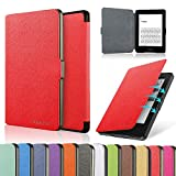 HAOCOO Ultra Slim Leather Smart Case Cover Build in Magnetic [Auto Sleep/Wake] Function for All-New Paperwhite Generations Prior to 2018 (Not fit All-New Paperwhite 10th Generation)(Red)