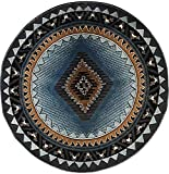 Kingdom South West Native American Round Area Rug Blue & Brown Design D143 (6 Feet 7 Inch X 6 Feet 7 Inch Round)