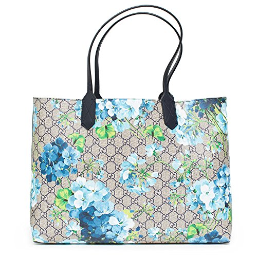 a75a7d7000c Gucci Blossoms Blue Navy Reversible GG Blooms tote Leather Handbag ...