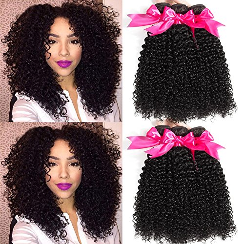 Hermosa 10A Brazilian Curly Hair 3 Bundles Good Quality Curly Weave Human Hair Unprocessed Brazilian Virgin Hair Black Color (22/24/26 Inch, Natural Black)