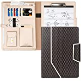 Toplive Padfolio Portfolio Case, Conference Folder Executive Business Padfolio with Document Sleeve,Letter/A4 Size Clipboard,Business Card Holders, Portfolio Padfolio for Women/Men,Mermaid Black