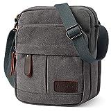 Koolertron Vintage Canvas Crossbody Shoulder Bag Lightweight Small Satchel Bag for Men & Women (Grey, 6.88'(W) 8.26'(H) 3.9'(D))