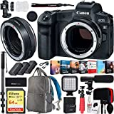 Canon EOS R Full-Frame Mirrorless Digital Camera (3075C002)(Body Only) Control Ring Mount Adapter EF-EOS R 2972C002 and Deco Gear Backpack 2X Extra Batteries Cleaning Kit Microphone Bundle