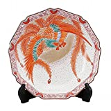 Jpanese traditional ceramic Kutani ware. Decorative Plate with a stand. Red phoenix. With wooden box. ktn-K5-1383