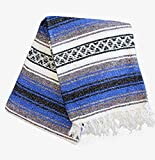 Del Mex Classic Mexican Blanket Vintage Style (Light Pink/Blue)