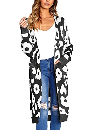 BTFBM Women Long Sleeve Open Front Leopard Knit Long Cardigan Casual Print Knitted Maxi Sweater Coat Outwear with Pockets (Black, Small)