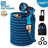 monyar Garden Hose Expandable Water Hose 100 Feet,Extra Strength/No-Kink Lightweight/Durable/Flexible/10 Function Spray Hose Nozzle 3/4 Solid Brass Connectors Garden Hose for Watering/Washing
