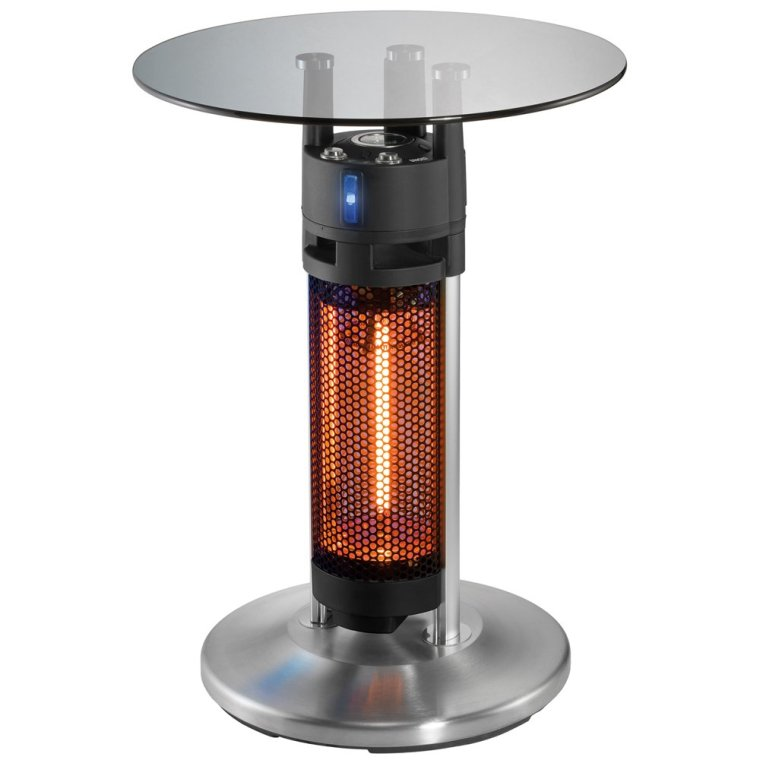 UNOLD Heiztisch Bistro, 1.200 W, Wetterfester Heizstrahler, Glasplatte, Karbon-Infrarot-Heizelement, LED-Beleuchtung, Kippschutz, IP24, 86745