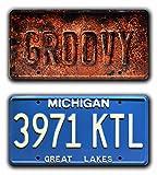 Celebrity Machines Ash vs Evil Dead | Ash William's Oldsmobile | GROOVY + 3971 KTL | Metal Stamped Vanity Prop License Plate Combo