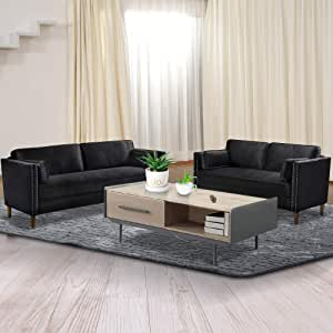 Amazon Com Recaceik 2 Piece Living Room Sofa Set Morden Style Couch Furniture Upholstered Sectional Loveseat For Office Home Black Furniture Decor