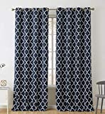HLC.ME Lattice Print Thermal Insulated Blackout Curtains for Bedroom - Navy Blue - 52' W x 96' L - Set of 2
