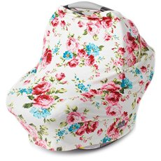 Stretchy Multi Use Carseat Canopy | Nursing Cover | Shopping Cart & High Chair Cover | Scarf – Vintage White Floral | Best Baby Gift for Girls | Fits Infant Car Seat | for Breastfeeding Moms