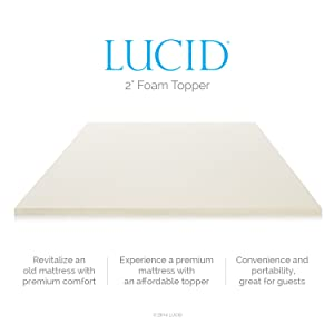 LUCID 2 Inch Foam Mattress Topper features