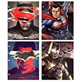 UPD DC Comics Batman Superman Justice League 3-Ring Binder Portfolio Folders with Pockets, 4 Pack