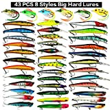 XBLACK Hard Fishing Lures Set 43pcs Assorted Bass Fishing Lures Kit Colorful Minnow Popper Crank Rattlin VIB Jointed Fishing Lure Set Hard Crankbait Tackle Pack for Saltwater or Freshwater (43 pcs)