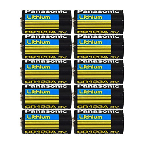 Panasonic CR123A Lithium 3V Photo Lithium Batteries , 0.67″ Dia x 1.36″ H (17.0 mm x 34.5 mm) , black, Gold, Blue (Pack of 10)