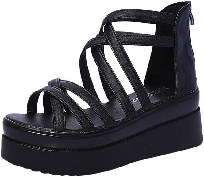 POLP Zapatos Planos Plataforma Sandalias Planas para Mujer Hebillas
