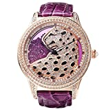 Princess Butterfly Luxury Rose Gold Women Watch Austria Crystal, Water Resistance Fashion Crystal Watch Artificial Rhinestone Dial, Italy Purple Genuine Leather Textured Quality