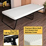 300lbs Max Weight Capacity Quictent Heavy durable Steel Frame folding bed for adult with Comfortable Soft Micro-Quilt 3D Stretch Knit Mattress Cover and Bonus Storage Bag (75'x31'x14', White Mattress)