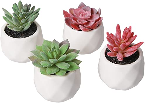 Amazon Com Amyhomie Artificial Plants Set Of 4 Mini Fake Succulent Plants With Pots For Home Weeding Office Decoration Red And Green Furniture Decor