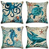 MHB Decorative Ocean Park Theme Cotton Linen Throw Pillow Covers 18 x18 Inch (Pack of 4 Pieces)