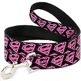 Buckle Down Dog Leash Diagonal Superman Logo Hearts Black Pink 6 Feet Long 1.0 Inch Wide