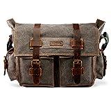 GEARONIC Mens Canvas Leather Messenger Bag for 14' 17' Laptop Satchel Vintage Shoulder Rugged Military Crossbody Large Briefcase (14 inch, Slate)