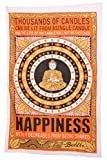 "Thousands of Candles Buddha Meditation and Lotus Cotton Brown/Orange Wall Hanging Tapestry by ""JAIPUR HANDLOOM"" dorm decor college tapestry wall hanging"