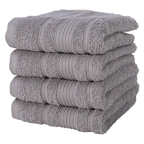 4 PACK Hand Towels Set | Premium Quality Luxury Turkish Cotton Absorbent AND Super Soft - SILVER GREY