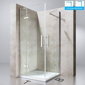 TBH: 120x100x195 cm Design Duschabtrennung Ravenna30, inkl. abgebildeter Duschtasse in weiß 4cm hoch, ESG-Sicherheitsglas Klarglas, inkl. beidseitiger NANO-Beschichtung von sogood