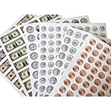 1038 Pieces U.S. Coin & Currency Stickers | For Classroom & Home Use | Extra Strong Adhesive | Realistic Size | 14 Total Sheets | By PureBloom Products
