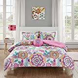 Mi-Zone Camille Comforter Reversible Solid Medallion Flower Floral Printed Ultra Soft Down Alternative Hypoallergenic Microfiber Bedding-Set, Twin/Twin XL, Pink