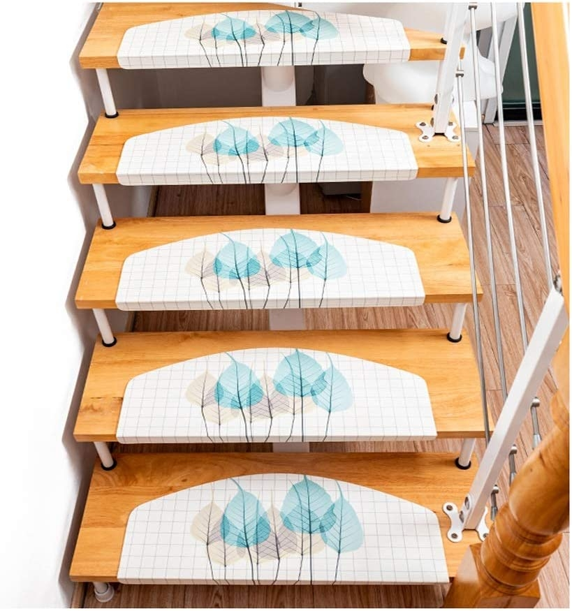 Stair Pads Semicircle Pu Set Of 10 Self Adhesive Stair Treads Skid | Self Stick Stair Treads | Slip Resistant | Modern | Vinyl Covered | Contemporary | Pad