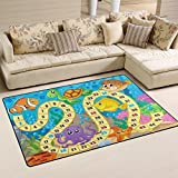 "My Little Nest Kids Children Under Sea World Fish Turtle Coral Board Game Area Rug Baby Boys Girls Play Mat Non Slip Soft Educational Fun Carpets for Bedroom Classroom Nursery 3'3"" x 5'"
