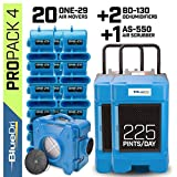 BlueDri Pro Pack 4, 2X BD-130 Dehumidifier & 20x One-29 Air Mover & 1x AS-550 Air Scrubber, Blue