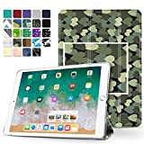 TNP iPad Air 2 Case - Slim Lightweight Shell Smart Cover Stand, Hard Back Protection with Auto Sleep Wake for Apple iPad Air 2 (Green Camouflage Heart)